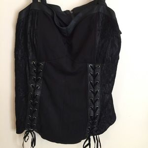 Lace and faux leather corset